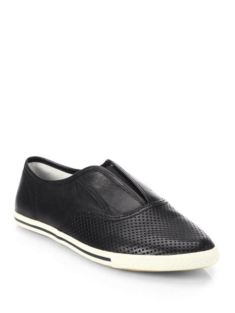 black leather slip on sneakers lyst marc by marc codie perforated leather slip