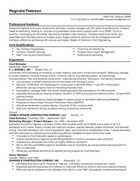 Chief Estimator Cover Letter by Professional Chief Estimator Templates To Showcase Your Talent Myperfectresume