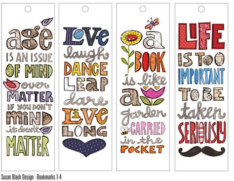 printable bookmark ideas cute quote bookmarks susan 25252bblack 25252bbmarka jpg