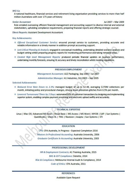 bookkeeper resume sle australia accounting resume