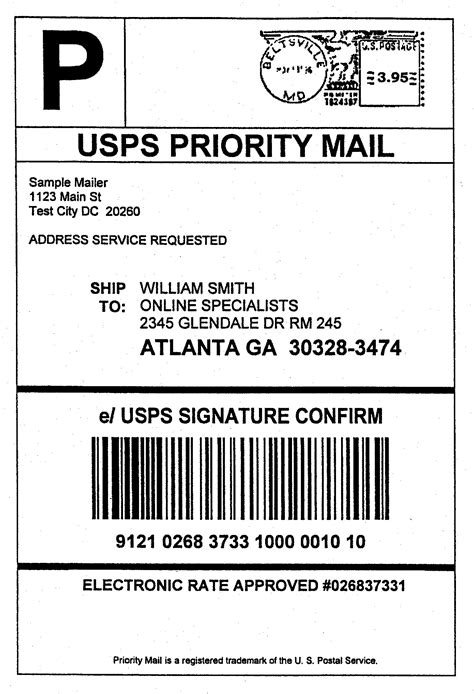 package mailing label template domestic mail manual s919 signature confirmation