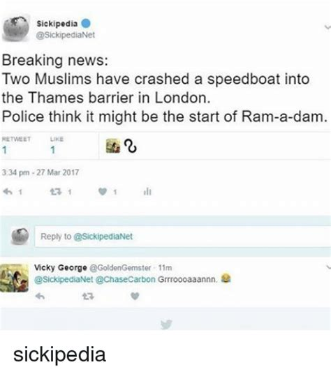 speedboat meme sickipedia breaking news two muslims have crashed a