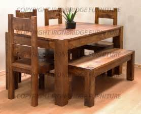 rustic farm 160cm dining table 4 chairs 135cm bench