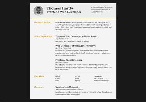free responsive html resume template 52 modern free premium cv resume templates