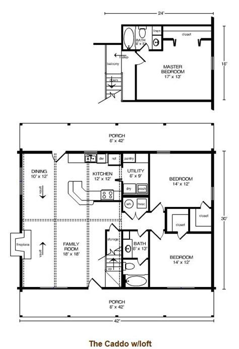 caddo floor plan with loft by satterwhite log homes