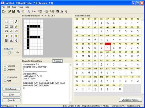 font design software windows bitfontcreator 2 3 screenshots