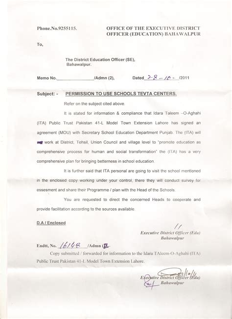 Permission Letter To Hod For Project Permission Letter For Project