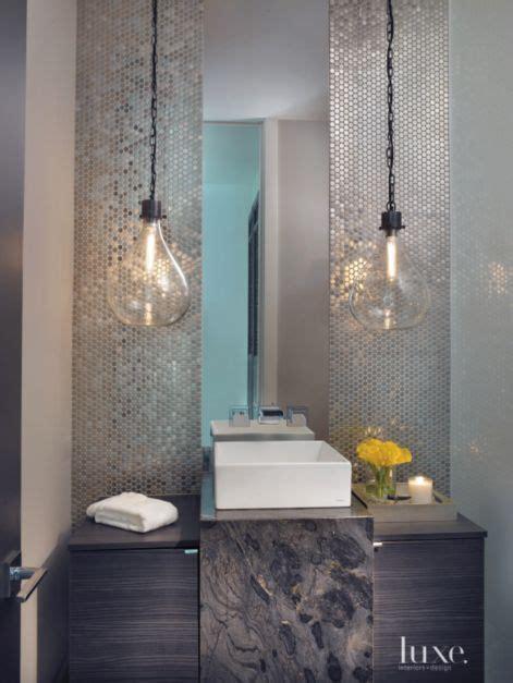 contemporary neutral powder room  penny  mosaic