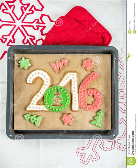 new year cookies 2016 2016 new year cookies stock photo image 63111380