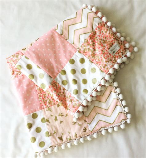 White And Gold Quilt Baby Blanket Baby Quilt Pink White Gold Quilt Minky