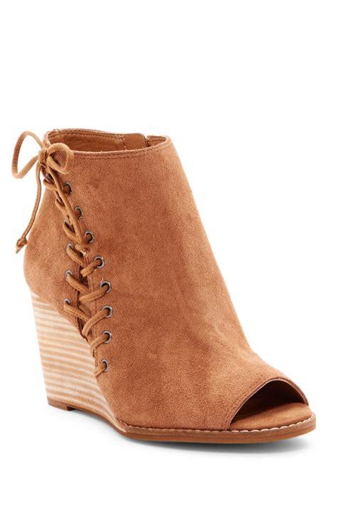 Peep Toe Booties Galore by Lucky Brand Jaevin Peep Toe Wedge Bootie In Brown Lyst