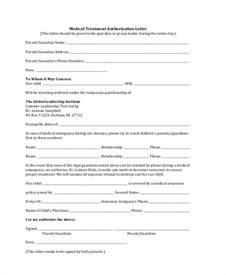 Authorization Letter Medicine child medical release form parental authorization for minor