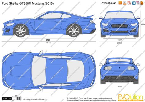 ford shelby gt350r mustang vector drawing