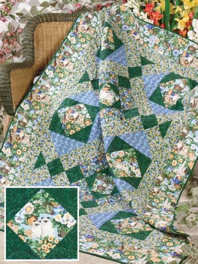 Patio Quilt Pattern Free Quilting Animal Inspired Quilts Purrfect Garden Free