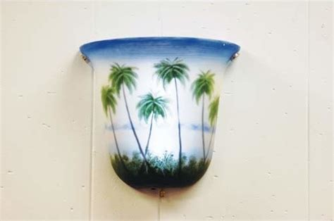 Tropical Wall Sconce battery powered led bell coconut trees wall sconce