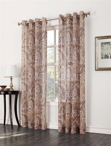 textured sheer curtain panels jaclyn smith celeste print textured semi sheer grommet