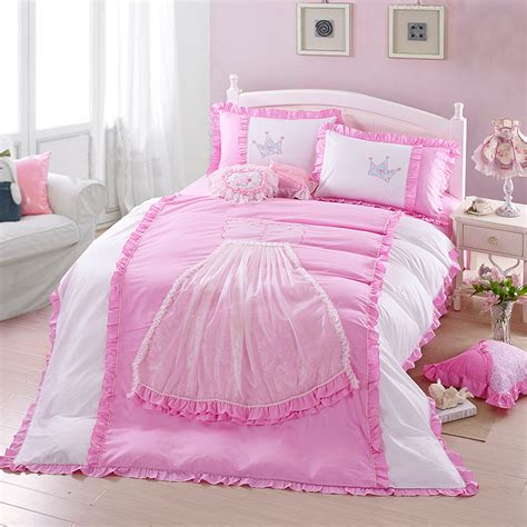 Princess Bed Set For Toddlers Aliexpress Buy 4pcs Beand King Size Princess Bedding Sets Gift Pink White