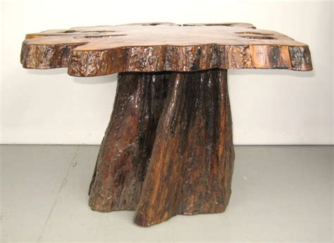 Stump Coffee Table Form Tree Slab Top And Stump Coffee Table For Sale At 1stdibs