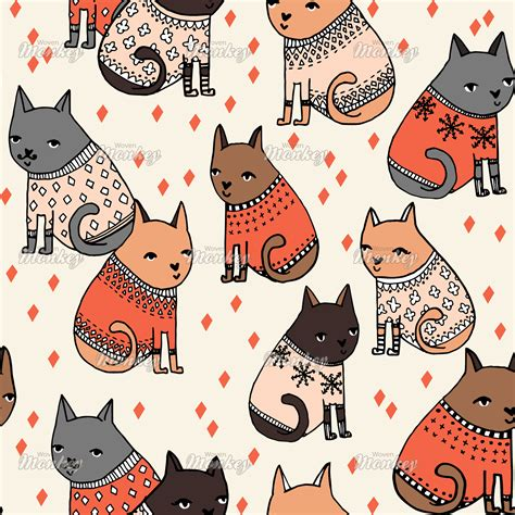 wallpaper cat illustration cats in ugly sweaters cute hand drawn illustration by