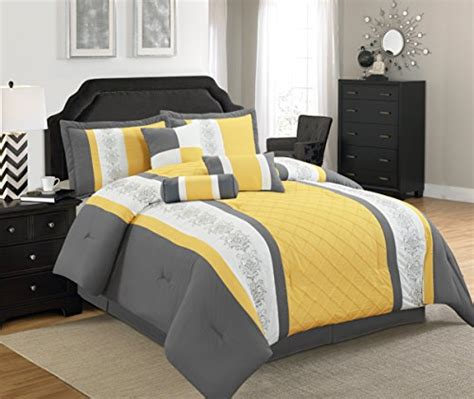 yellow and grey comforter sets legacy decor 7 pc grey yellow and white striped comforter