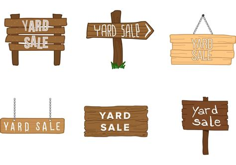 yard sale wooden sign vectorss download free vector art