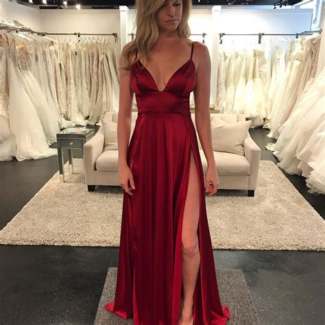 wine colored evening gown wine v neck prom dress empire formal gown evening