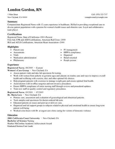 Best Registered Nurse Resume Exle Livecareer Registered Resume Template
