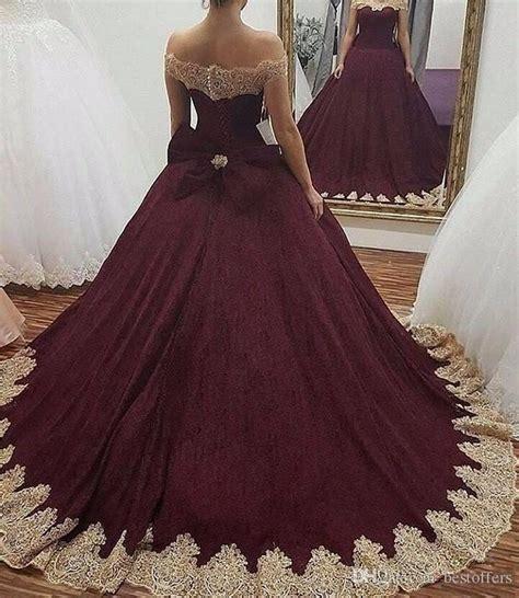 Set Maxi Arabic Marun the shoulder burgundy quinceanera dresses 2017 vintage
