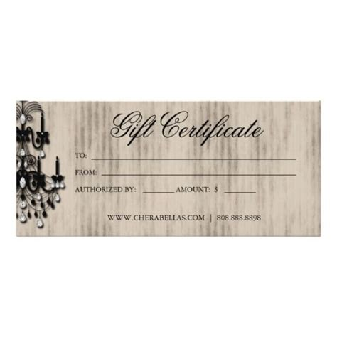 Gift Cards For Hair Salon - gift certificate chandelier nail hair salon