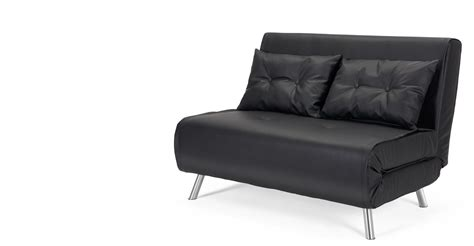 small black leather sofa bed haru small black sofa bed made com