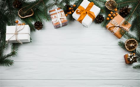 wallpapers christmas background green tree gifts white boards white wooden