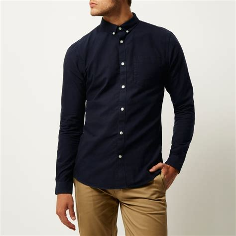 Shirt Navy navy slim fit sleeve oxford shirt shirts sale