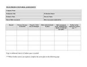 Company Assessment Template by Blank Risk Assessment