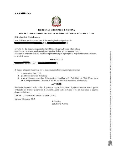 decreto ingiuntivo pagamento parziale studio legale decreto ingiuntivo provvisoriamente esecutivo formula
