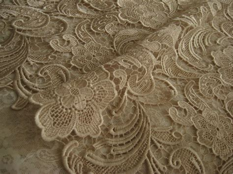 Chic Champagne Lace Fabric Crocheted Lace Fabric Bridal By Lacefun