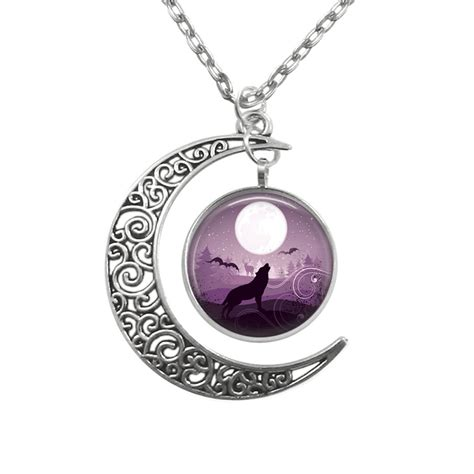 wolf howling at moon pendant filigree crescent moon