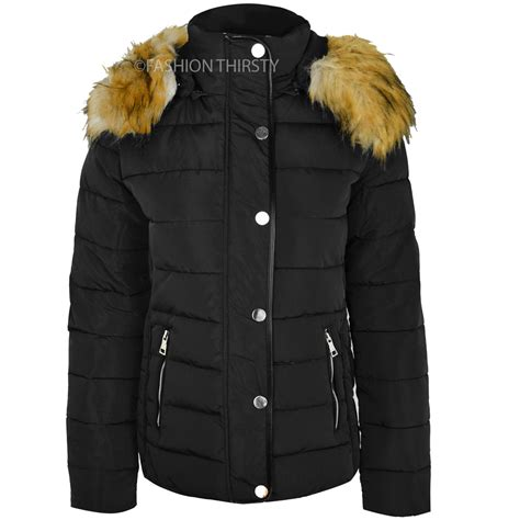 Womens Quilted Winter Coats womens quilted winter coat puffer fur collar