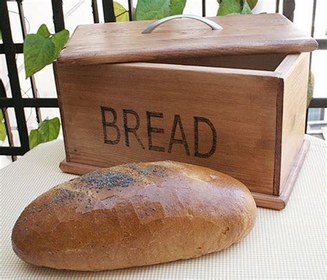 Handmade White Bread - wooden handmade bread box rustic style by eagleinwood on