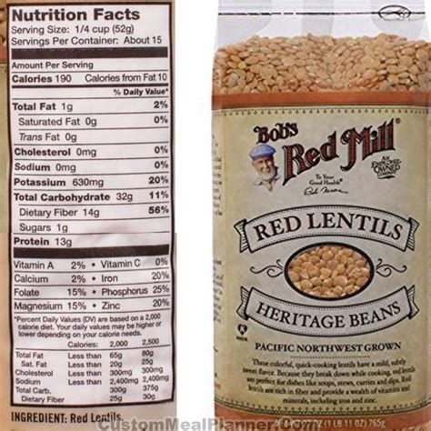 protein lentils nutritional information for lentils