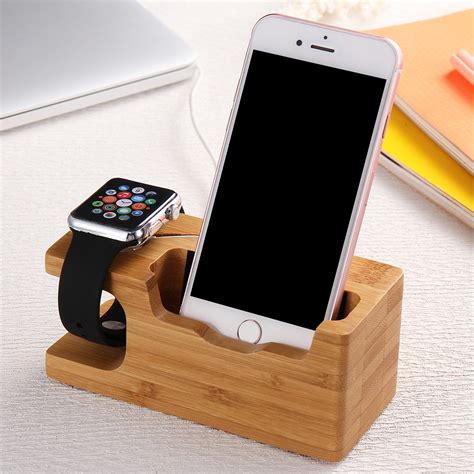 iphone holder multi function genuine bamboo wood stand phone charging holder dock for apple iphone 7 6