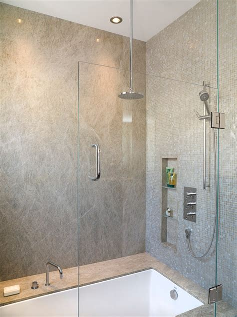 Rustic Bathroom Tile - master suite his modern bathroom portland by angela dechard design