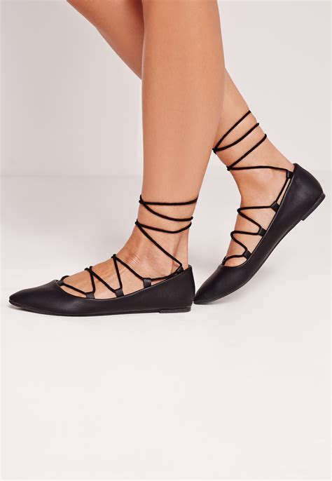 missguided lace up flat shoe black in black lyst