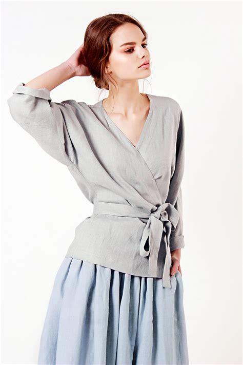 21811 Blouse Graywhite linen wrap top grey linen top linen tops for linen