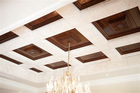 Black And Wood by Coffered Ceiling With Black Walnut Wood Panels Bonnin