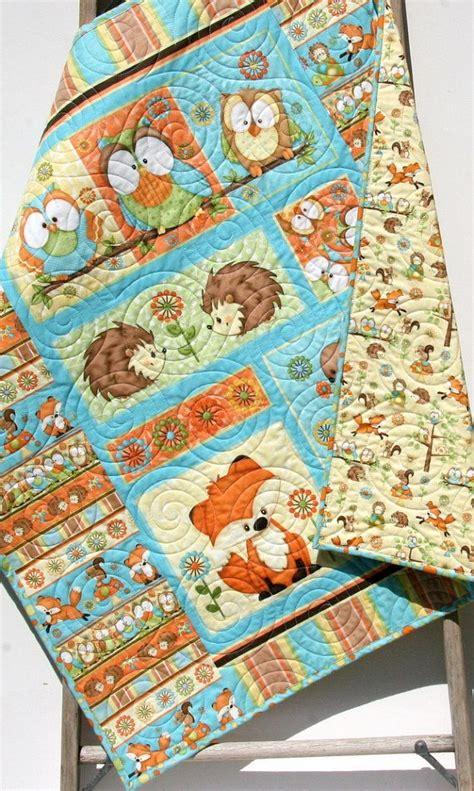 Hooty Owl Crib Bedding Baby Quilt Hooty Hoot Hooray Animals Nursery Decor Woodland Fox Owls Hedgehogs Forest Gender
