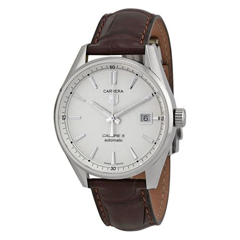 Tag Heuer F1 Silver Brown Leather 1 tag heuer automatic silver brown leather mens war211bfc6181 ebay