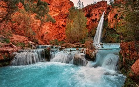nature landscape waterfall red rock arizona trees