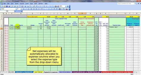 business accounting spreadsheet template business