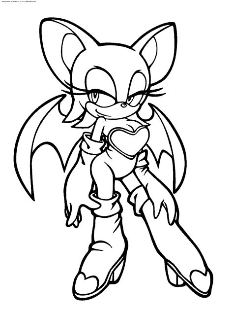free coloring pages of rouge sonic