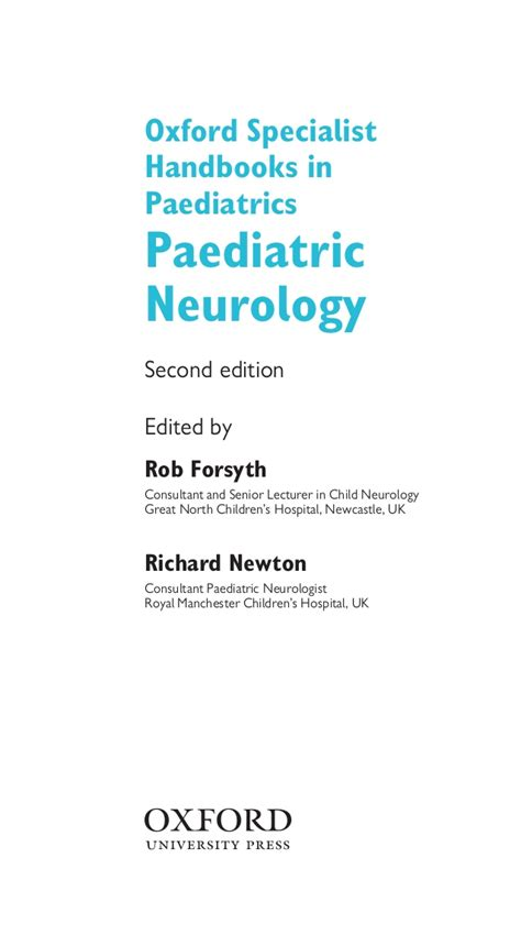 paediatric neurology oxford specialist handbooks in paediatrics books pediatric neurology